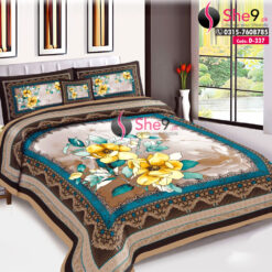 Big Floral Bedsheet with Cushion