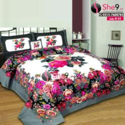Red Floral 3d Bedsheet